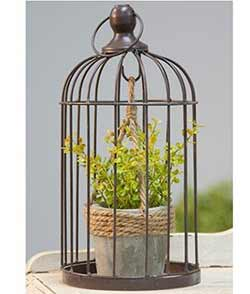 Birdcage with Jute and Cement Plant Holder - Small