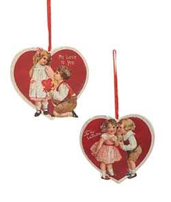 Valentine Children Dummy Board Ornaments (Set of 2)