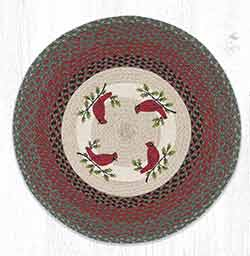 RP-25 Holly Cardinal Round Braided Rug