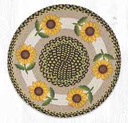 RP-593 Good Sunflower Round Braided Rug