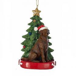 Labrador with Christmas Tree Ornament