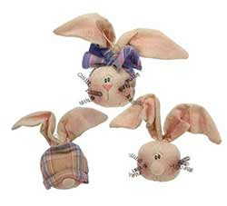 Spring Bunny Head Ornaments (Set of 3)