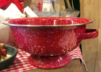 Small Colander Enamelware - Red Speckle