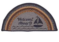 Seapoint Jute Half Moon Rug - Welcome Aboard