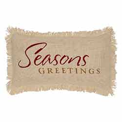 Seasons Greetings Creme Burlap Pillow