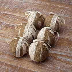Shimmer Burlap Creme and Natural Ornament (Set of 6)