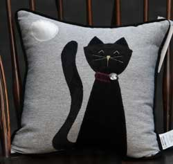 Silver Chenille Large Cat Pillow