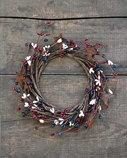 Patriotic Pip Berry Candle Ring with Rusty Stars
