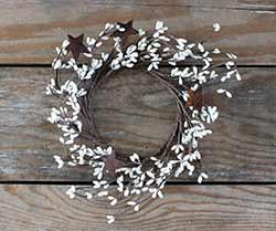 Ivory Pip Berry Candle Ring with Rusty Stars
