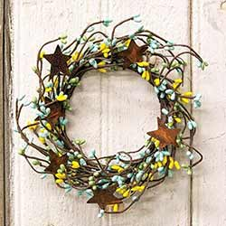 Yellow, Blue, & Mint Pip Berry Candle Ring with Rusty Stars
