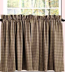 Heritage House Check Black Cafe Curtains - 24 inch Tiers