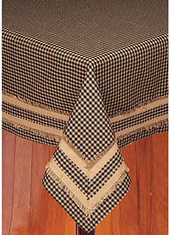 Newbury Gingham Tablecloth - Black and Tan