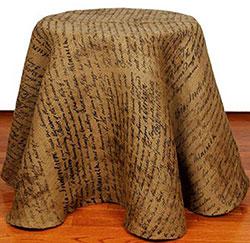Indentured Burlap Tablecloth - 60 inch (Round)