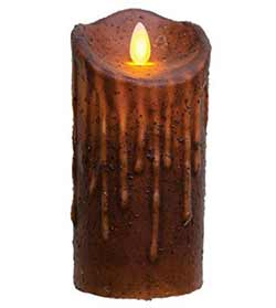 Mustard Flicker Flame Battery Candle - 6 inch