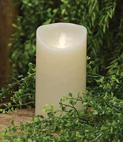 Ivory Flicker Flame Battery Candle - 6 inch