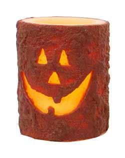 Jack O'Lantern 4 inch Battery Pillar Candle