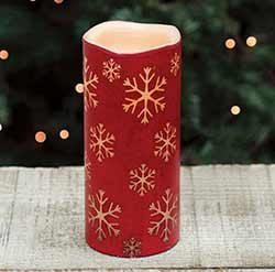 Snowflake Red Battery 7 inch Pillar Candle with Timer
