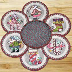 Candy Cane Santa Braided Jute Trivet Set