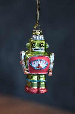 Mini Robot Ornament - Green