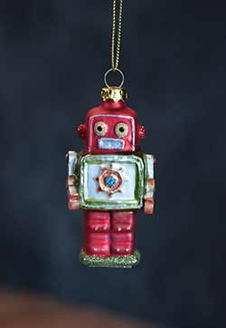 Mini Robot Ornament - Red