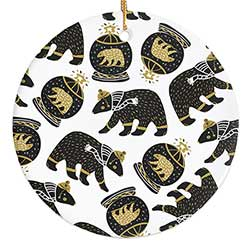 Mod Gold & Black Bear Personalized Ornament