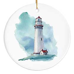 Watercolor Lighthouse Personalized Ornament