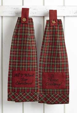 Tartan Holiday Hanging Kitchen Towels (Set of 2)