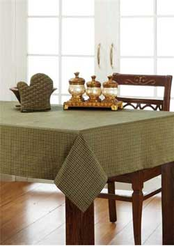 Tea Cabin Green Plaid Tablecloth - 60 x 120 inches