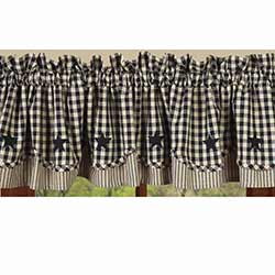 Heritage House Check Black Fairfield Valance with Star