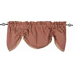 Heritage House Check Red Gathered Valance with Lace