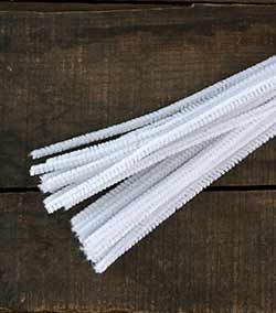 White Chenille Stems, 6 mm (25 pack)