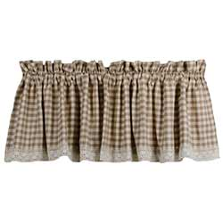 Heritage House Cream Check Valance with Lace