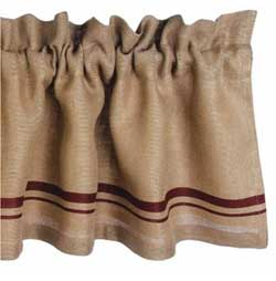 Burlap Red Stripe Valance