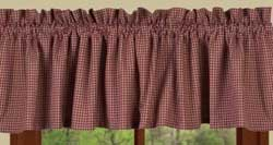 Newbury Gingham Valance - Red and Tan