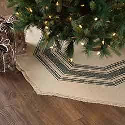 Vintage Burlap Stripe Green 48 inch Tree Skirt