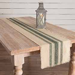 Vintage Burlap Stripe Green 72 inch Table Runner