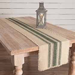 Vintage Burlap Stripe Green 90 inch Table Runner