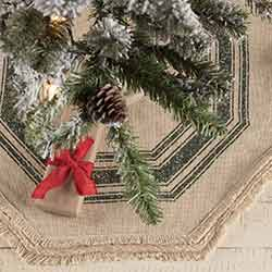 Vintage Burlap Stripe Green Mini 21 inch Tree Skirt