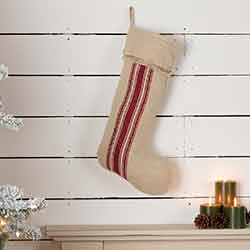 Vintage Burlap Stripe Red 20 inch Stocking