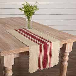 Vintage Burlap Stripe Red 36 inch Table Runner