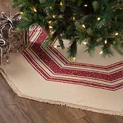 Vintage Burlap Stripe Red 60 inch Tree Skirt