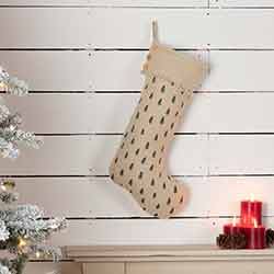 Vintage Burlap Tree 20 inch Stocking