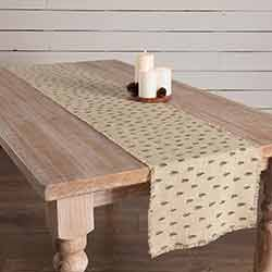 Vintage Burlap Tree 90 inch Table Runner