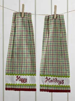 Whimsical Christmas Button Loop Kitchen Towels (Set of 2)
