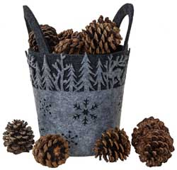 Grey Felt Deer/Tree Basket