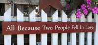 All Because Two People Fell In Love Handmade Sign - Red