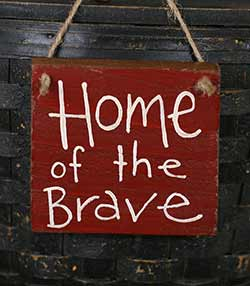 Home of the Brave Hand Lettered Wood Sign (Choose color)