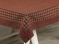 Victorian Heart Applique Star Burgundy Tablecloth, 60 x 84