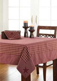 Burgundy Applique Star Tablecloth, 60 x 60
