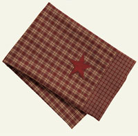 Victorian Heart Applique Star Burgundy Tea Towel
